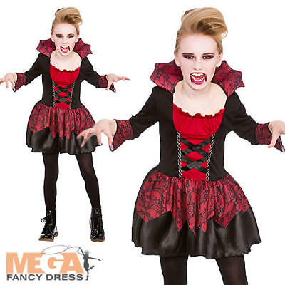 Little Vampire Girls Fancy Dress Halloween Scary Kids Childrens Costume Outfit  - Little Girl Scary Halloween Costumes