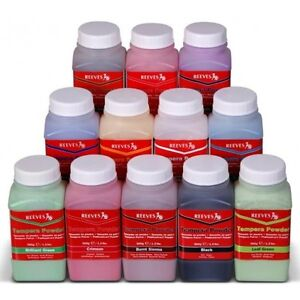 Reeves-Tempera-Powder-Paint-500g-Tubs-White-Black-Blue-Yellow-Red-Green-Purple