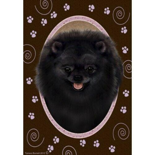 Paws House Flag - Black Pomeranian 17255