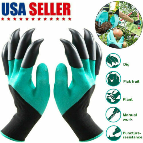 Garden Genie Planting Gloves for Digging Planting Gardening 8 Claws Lawn Care US