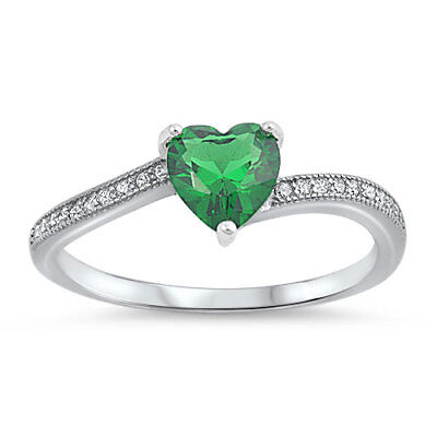 (Emerald CZ Heart Promise Ring New .925 Sterling Silver Love Band Sizes 3-12)