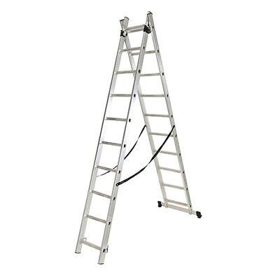 Escalera profesional multiusos doble y extensible 2 x 10 peldaños de aluminio