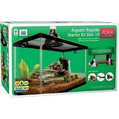 Reptile Habitat Setup Aquarium Tank Kit Filter Screen Lid Bask Lamp Turtle Frog