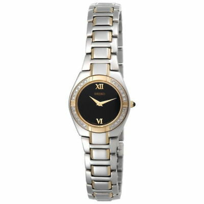 Seiko SUJF10 Women's Dress Diamond Encrusted Black Dial Two-Tone Stainless Watch
