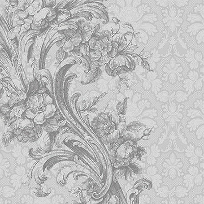 20 Lunch Paper Napkins BAROQUE STYLE Silver Grey Decoration Wedding Engagement  (Grey Paper Napkins)