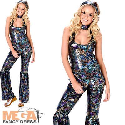 Disco Diva Jumpsuit Ladies Fancy Dress 70s Groovy Womens Adults 1970s Costume