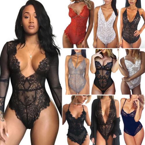 Hot Women Lace Lingerie Bodycon Bodysuit Nightwear Sleepwear Underwear Babydoll