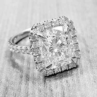2.45 Ct. Halo Cushion Cut Pave Diamond Engagement Ring D, VS1 GIA 18k White Gold