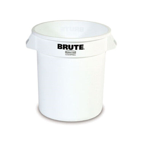 Round Brute Container - 10 Gallon Capacity, White