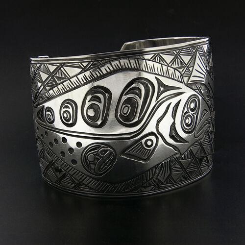 Wide Northwest Coast Native American Cuff Bracelet Halibut Salmon Design Signed
