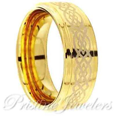 Celtic Irish Knots Tungsten Carbide Gold Men Wedding Band Promise Ring SZ 6-13