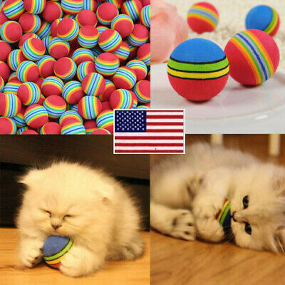 10pcs Pet Cat Kitten Soft Funny Foam Rainbow Play Colorful Balls Activity Toys O