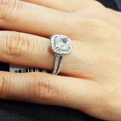 2.25 Ct Cushion Cut Halo U-Setting Split Shank Diamond Engagement Ring F VS1 GIA 1