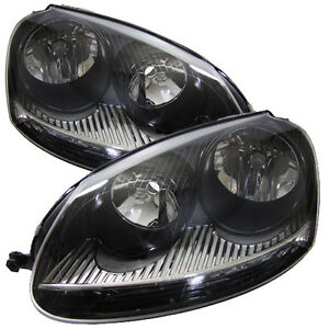 VW GOLF MK5 03-09 GTI TYPE BLACK HEADLAMPS HEADLIGHTS HALOGEN PAIR NEW