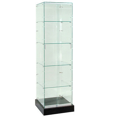 Frameless Tempered Glass Tower Trophy Case With Black Base - 72 New York Pickup