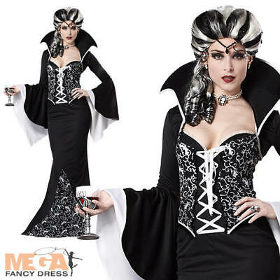 Deluxe Royal Vampiress Ladies Halloween Fancy Dress Black/White Vampire Costume