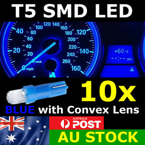10x T5 BLUE SMD LED Dash Instrument Light Dashboard Bulb Globe Convex Lens 12v