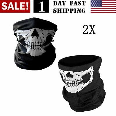 2PCS Skeleton Ghost Skull Face Wrap Hood Biker Halloween Balaclava Cosplay US!
