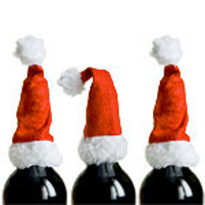 2 SANTA HAT WINE BOTTLE TOPPERS TABLE DECORATION GIFT IDEA