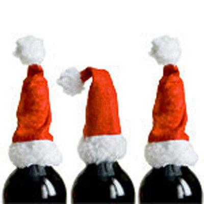 2 SANTA HAT WINE BOTTLE TOPPERS TABLE DECORATION GIFT - Wine Bottle Decoration Ideas