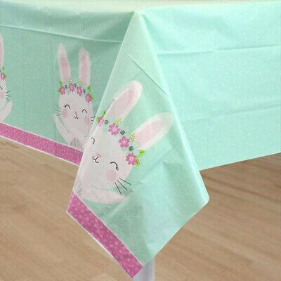 Bunny Birthday Party (1ST BIRTHDAY Floral Bunny PLASTIC TABLE COVER ~ Party Supplies Decorations)