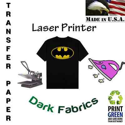 Laser Iron-on Heat Transfer Paper For Dark Fabric 8.5x11 10 Sheets Red Line