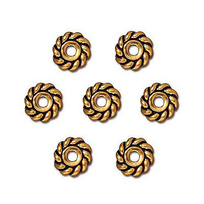 HEISHE TWIST JEWELRY SPACER BEAD ANTIQUED GOLD PEWTER 25 BEADS 4MM ROUND PW9