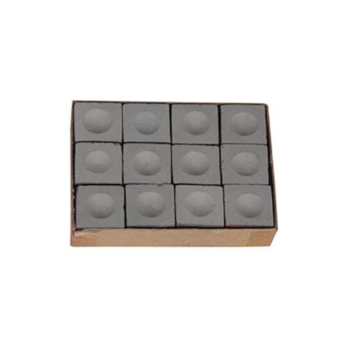 Grey Silver Cup Pool Chalk - Box of a Dozen Blocks