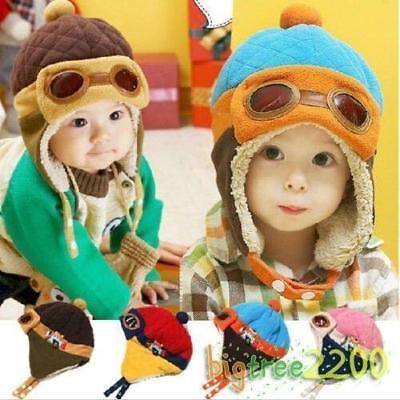 New Baby Earflap Toddler Girl Boy Kids Pilot Aviator Cap Warm Soft Beanie - Kids Aviator Hat