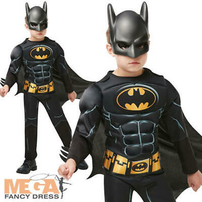 Deluxe Batman Boys Fancy Dress DC Comics Superhero Kids World Book Day (Kid Batman Kostüme)