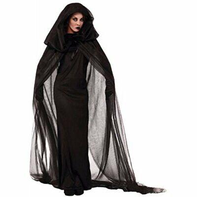 Stylish Black Full length Dress Witch gothic Halloween Costume uk 12
