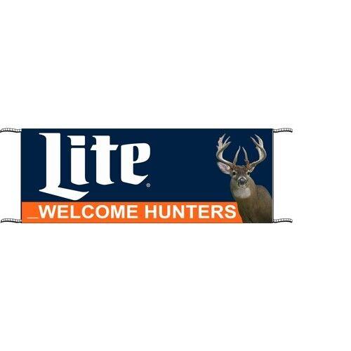 """NEW Miller Lite Welcome Hunters 120"""" x 34"""" Outdoor Banner"""
