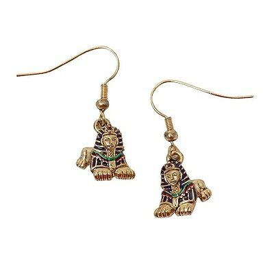 ANCIENT EGYPTIAN SPHINX EARRINGS.DANGLE.SET OF 2.EGYPT FASHION JEWELRY