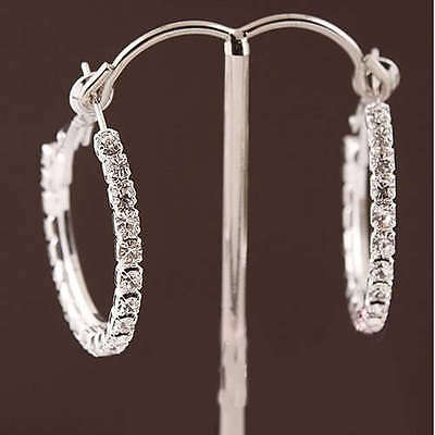 New Women Fashion 925 Sterling Silver Plated Crystal Rhinestone Hoop Earrings