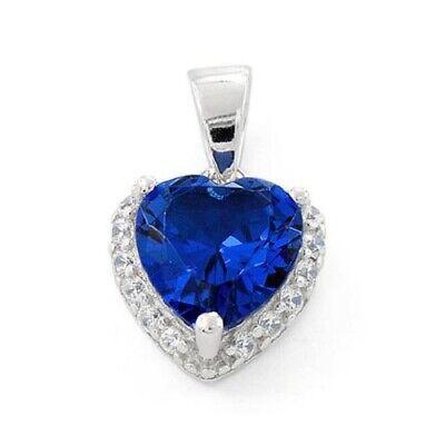 .925 Sterling Silver Heart Shape Blue Sapphire CZ Pendant Gemstone Heart Shape Pendant