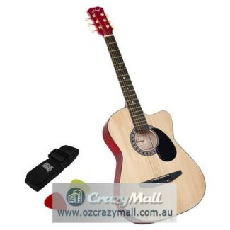 Wooden Acoustic Guitar 41/38 Inch with Bag Natural/Black