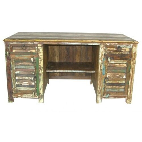 "60"" W Desk Two Door Drawer Distressed Paint Reclaimed Wood Hand Crafted Unique"