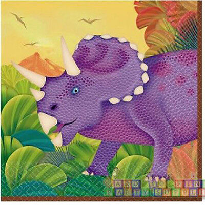 DINOSAURS Prehistoric Party SMALL NAPKINS (16) ~ Birthday Supplies Serviettes - Prehistoric Party Supplies