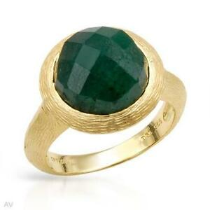 NEW EMERALD RING IN 14 KARAT GOLD OVER STERLING SILVER