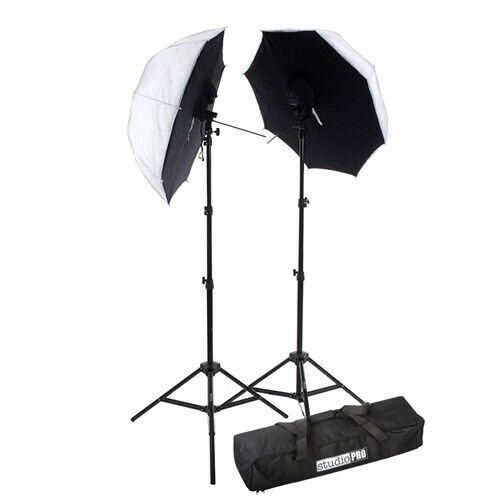 "Fovitec StudioPRO 2x Off Camera Speedlight Flash Umbrella Brolly 33"" Softbox Kit"