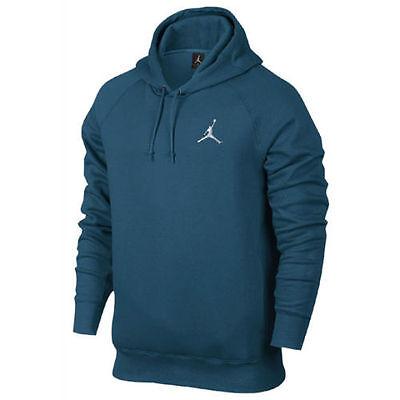 Nike Air Jordan Flight PO Men's 2XL Basketball Hoodie Teal Blue/White 823066 301