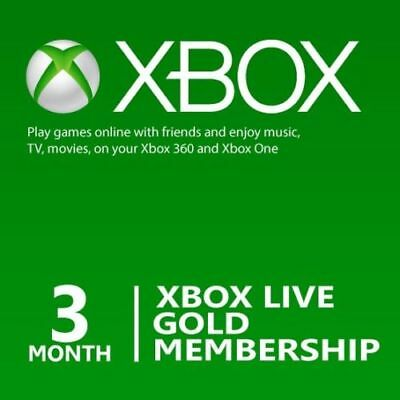 Xbox LIVE 3 Month Gold Membership Card (Physical Card) for sale  Findlay