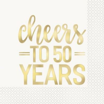 50th ANNIVERSARY Cheers to 50 Years LUNCH NAPKINS (16) ~ Wedding Party Supplies