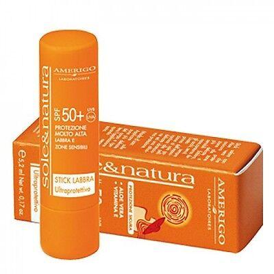 Stick Solare Protezione SPF50+ LABBRA E ZONE SENSIBILI-ALOE VERA-5,2ml-Amerigo