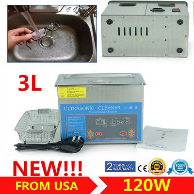 3l Liter Industry Heated Ultrasonic Cleaner Heater Wtimer New Stainless Steel