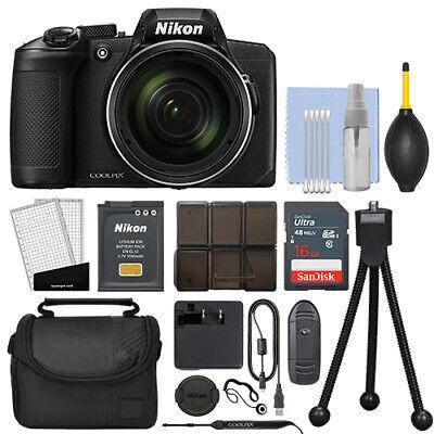 Nikon Coolpix B600 16MP Digital Camera 60x Optical Zoom Black Full-HD + 16GB Kit