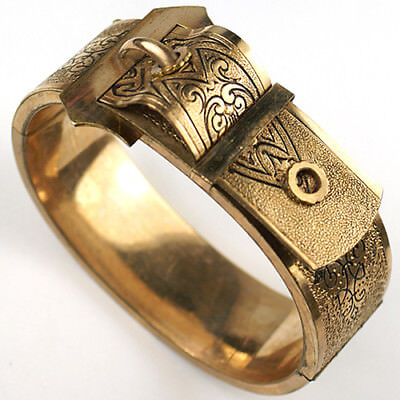 Victorian Gold Filled and Enamel Geometric Pattern Buckle Bangle