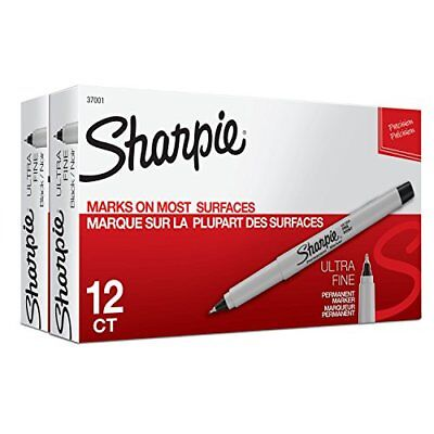 New Sharpie Permanent Markers Ultra-fine Point Black 24-count Free2dayship