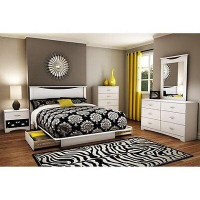 4 Piece White Queen Full Bedroom Furniture Set Bed Storage Dresser Nightstand ()