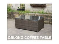 Brown Rattan Oblong Coffee Table Brand New in Box